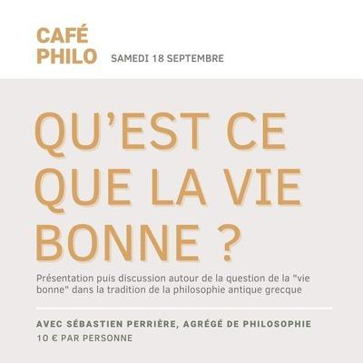 """📝📅🧓 ** SAMEDI 18 SEPTEMBRE Café-philo avec Sébastien Perrière """"QU'EST-CE QUE LA VIE BONNE ?""""**  Que les philosophes de l'antiquité grecque l'associent au plaisir, à la paix intérieure ou encore à la vertu et si elle représente d'abord la vie heureuse, réussie, il ne faut pas confondre """"la vie bonne"""" tels qu'ils la décrivent avec le bonheur dans son sens actuel.  Lors de ce premier café philo, Sébastien Perrière, agrégé de philosophie, viendra donc nous présenter la notion de """"vie bonne"""". En partant de sa définition dans la tradition philosophique de la Grèce Antique, il présentera les différentes écoles de pensée et leur approche de cette notion.  La présentation sera suivie d'un temps d'échange et de discussion qui nourrira la réflexion.  Le nombre de place est limité, veillez bien à vous inscrire auprès de nous !  Durée : environ 1h15  Prix : 10 € par personne (une boisson et une part de gâteau inclues)   Samedi 18 septembre de 15h30 à 17h  Renseignements et réservations au 09 81 86 69 75 ou à l'adresse mail echanges@unmomentchezmeme.fr  #cafephilo #event #unmomentchezmeme #discussion #philosophie #mougins #lieuculturel"""